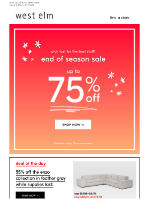 END OF SEASON SALE → UP TO 75% OFF