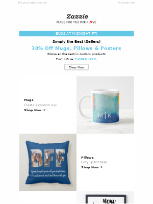 30% Off ☕, 🖼️ and More Ends Tonight!
