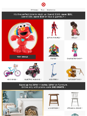 Toy sale! Spend $100, save $25; spend $50, save $10.