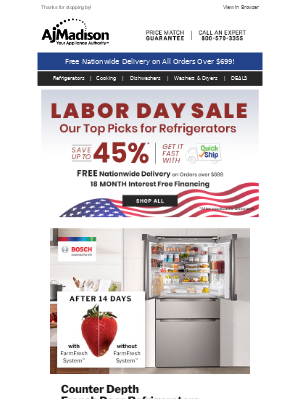 AJ Madison - Need a new fridge? Check Out The Ultimate Refrigerator Guide + Save up to 45%