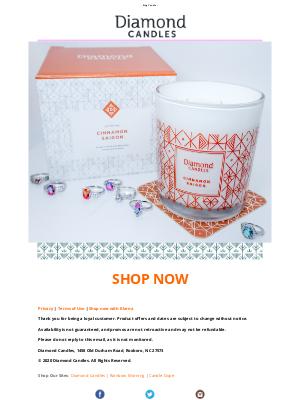 Diamond Candles - Exclusive Cinnamon Saigon Ring Candle with Matching Gift Box & Coaster