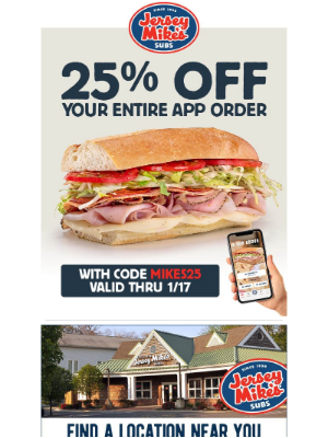 Jersey Mikes - Enjoy 25% Off Your Entire App Order