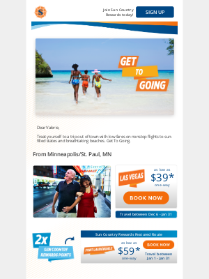 Sun Country Airlines - Warm weather is calling with nonstop flights as low as $39* one-way.
