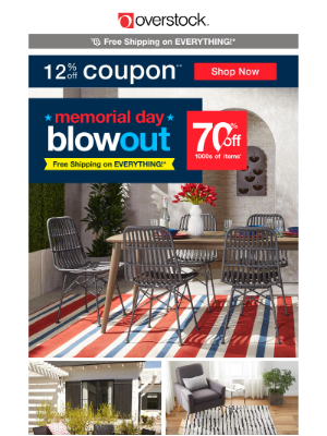 Overstock - ❤️ 12% off Coupon! 🤍 Score HUGE Memorial Day Savings + Free Shipping!*
