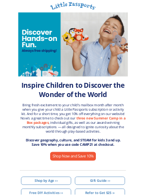 Little Passports, Inc. - 10% off Adventure and Learning, Delivered Right to Their Mailbox