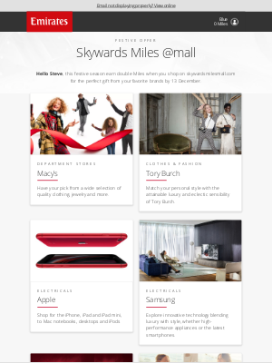 Emirates - One week to earn Miles with Samsung, Macy's and more