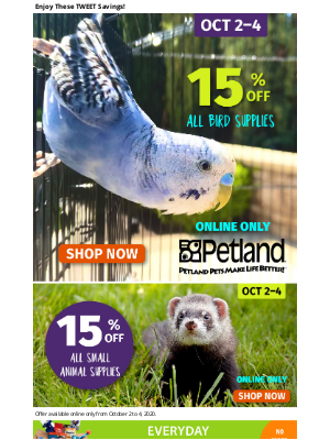 Petland Canada (CA) - 15% Off Bird & Small Animal Supplies 🎉🎊