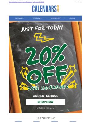 Calendars - A+ School Savings | 20% Off Calendars