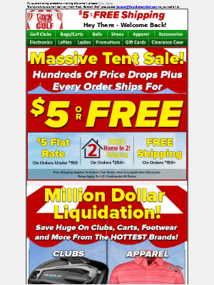 Rock Bottom Golf - 🎪💲 Massive Tent SALE ENDING + EVERY Order Ships For $5 Or FREE!