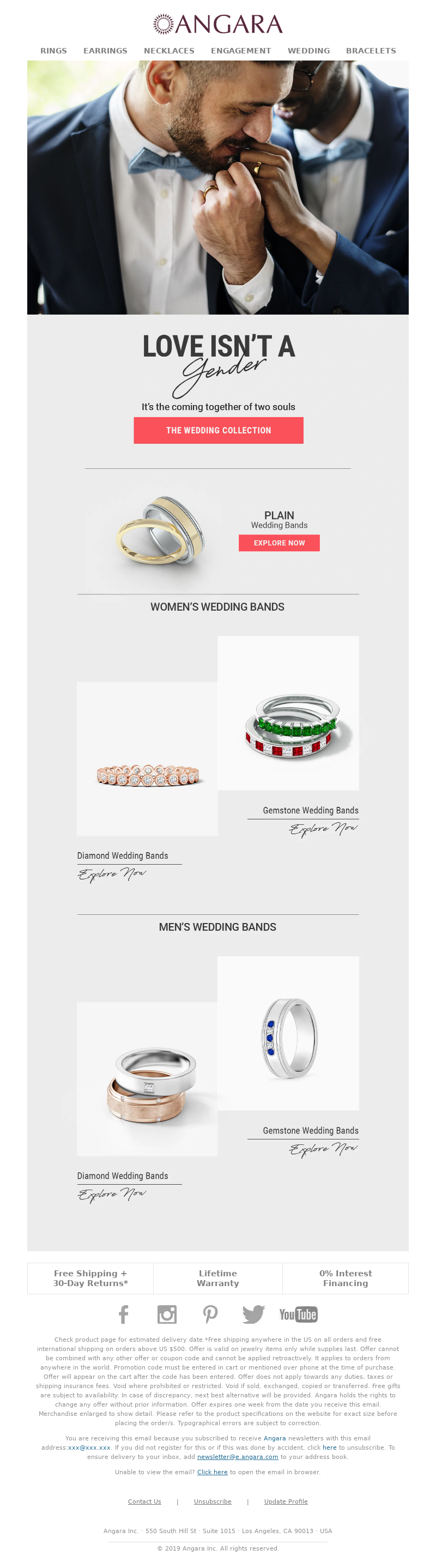 Angara email promoting jewelry