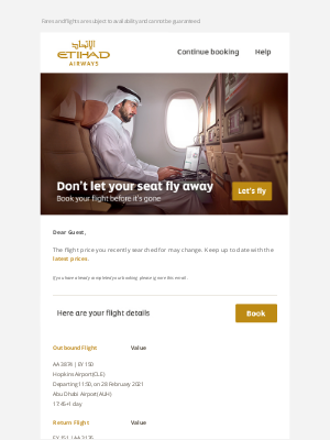 Etihad Airways - A courtesy reminder from us