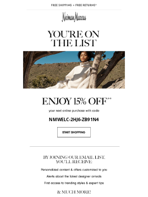Neiman Marcus - Win-win: 15% off & you're in the know!
