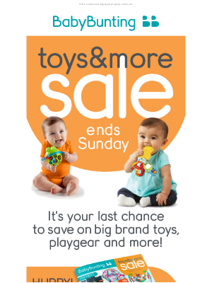 Baby Bunting (AU) - Last chance to save on big brand toys & more