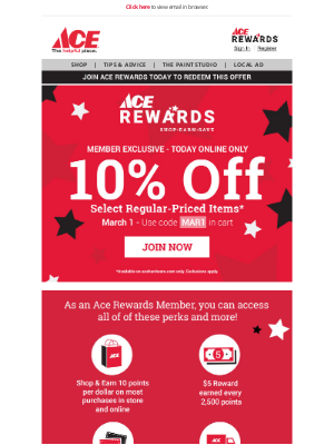 Ace Hardware - Today Only! 10% OFF Online for Members - Join Today!