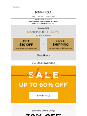 RW&CO. CA - RWInsider Days are ON 🎉 Deals on deals on deals!