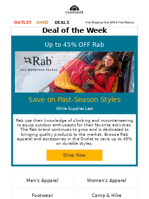 CampSaver - Up to 45% OFF Rab Outlet Items