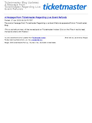 Ticketmaster Blog Updates: A Message From Ticketmaster Regarding Live Event Refunds