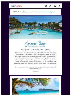 momondo (UK) - Spring in St. Lucia at Coconut Bay Beach Resort & Spa