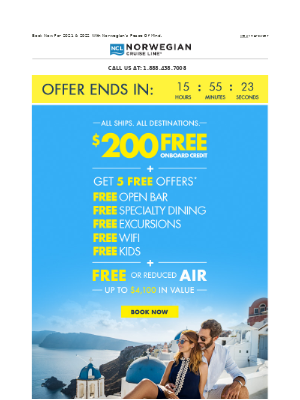 Last Chance! Get Up To $4,100 In Value With FREE $200 Onboard Credit + FREE Or Reduced Air & More.