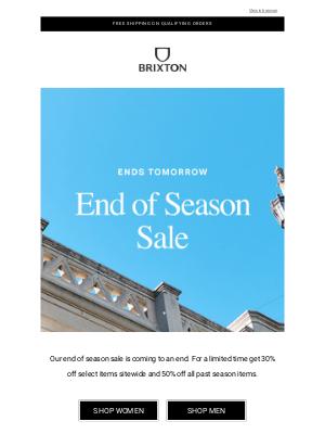 Brixton LLC - Sale: Ends tomorrow!