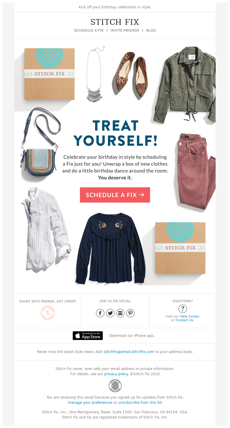 Stitch Fix - MailCharts, It's Almost Your Birthday!