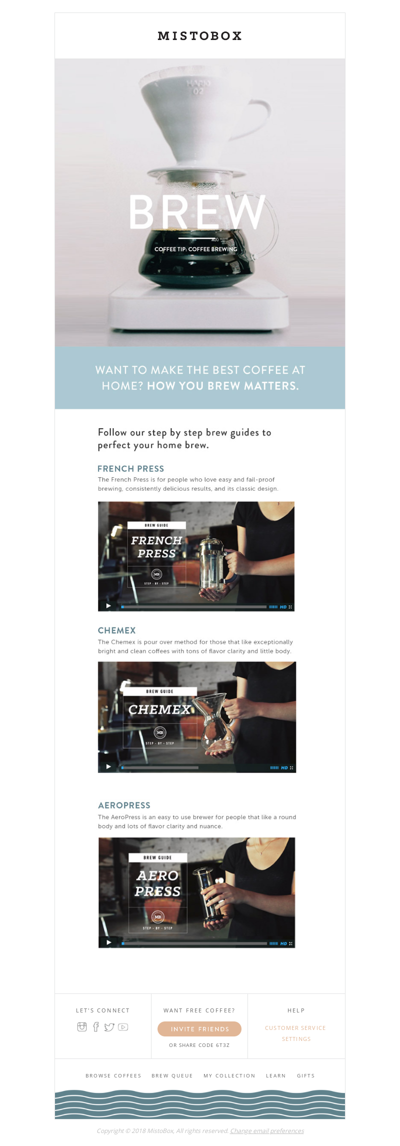 Onboarding email campaign from MistoBox