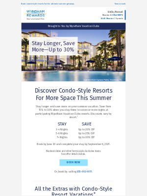 Wyndham Hotel Group - Ends June 30! Up to 30% Off at Wyndham Vacation Clubs