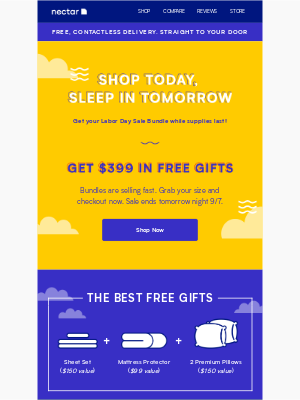Nectar Sleep - $399 free gift bundles are selling out!