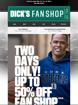 DICK'S Sporting Goods - 📢 2 DAYS ONLY...Up to 50% Off​