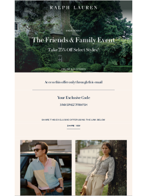 Ralph Lauren - The Friends & Family Event Ends Today
