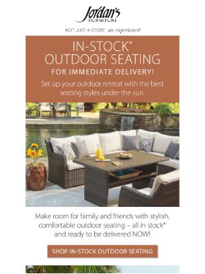 Jordan's Furniture - Al fresco season is here! IN-STOCK* outdoor seating.