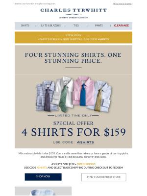 4 proper shirts for a proper $159 + FREE SHIPPING