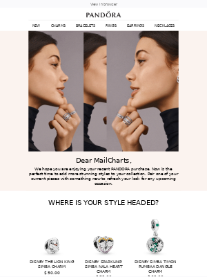 Win back email with produce recommendations from Pandora Jewelry