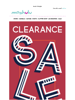 Clearance ends Midnight