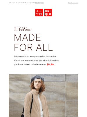 UNIQLO - Fleece, Love + Fluffiness Made For All