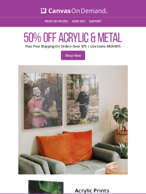 Canvas On Demand - Add Style To Your Photos With Acrylic or Metal Prints