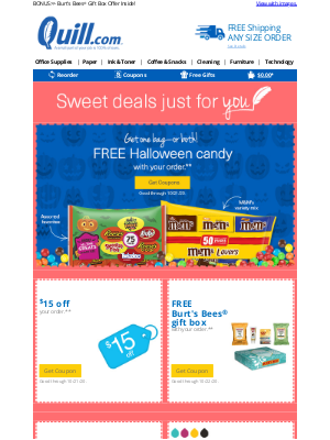 Quill - Good Timing, Quill Customer! Here Is a $15 Coupon + FREE Halloween Candy with Your Order!