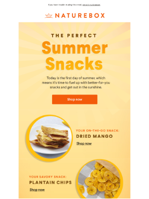 NatureBox - Summer's here! Let's get snackin'. ☀️