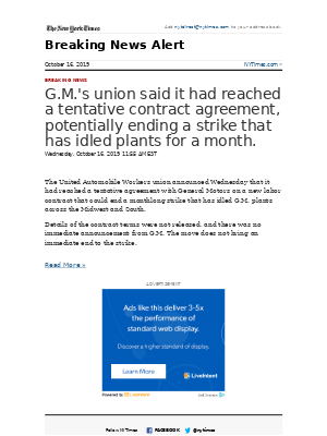 Breaking News: G.M.'s union said it had reached a tentative contract agreement, potentially ending a strike that has idled plants for a month.