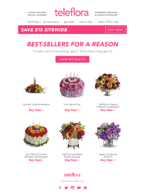 TeleFlora - $15 Off Our Best-Sellers! 🌸🌻🌷