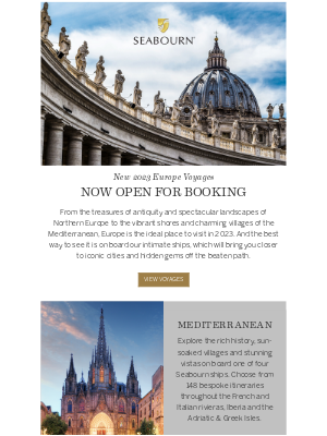 Seabourn Cruise Line - 2023 Europe Voyages Now Open For Booking