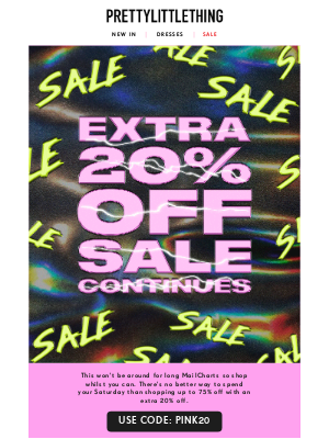 PrettyLittleThing USA - 2020 isn't cancelled yet... EXTRA 20% OFF EVERYTHING 🥂