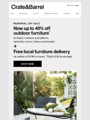 Free local furniture delivery makes patio setup a breeze.