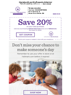 Hallmark - Hurry, your member-exclusive 20% off coupon expires soon!