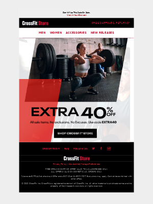 CrossFit Inc. - Take An EXTRA 40% OFF Markdowns