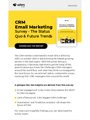 Email Monks - Email Uplers' CRM Email Marketing Survey Report 2020