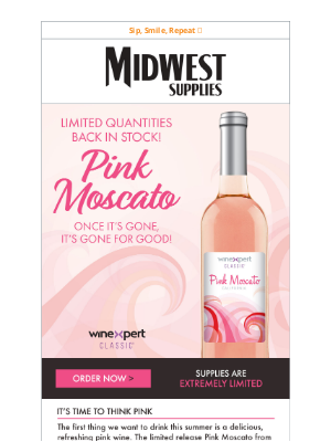 Midwest Supplies - Pink Moscato 🥂 Limited Quantities Back in Stock!