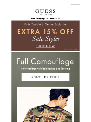New Camo + Extra 15% Ending