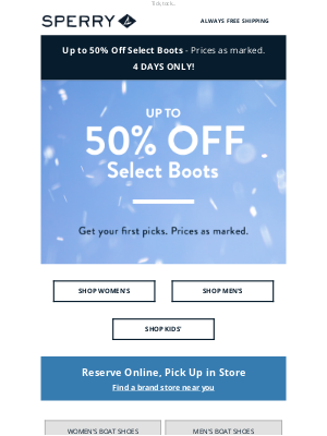 Sperry - Ends tonight: Up to 50% off boots!