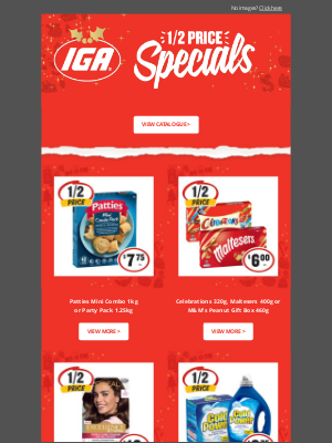 IGA (Independent Grocers Alliance) - Hi Janet, get ready for Christmas with these 1/2 Price specials 🎄